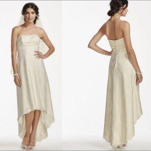 White Strapless High Low Lace Wedding Dress 16W